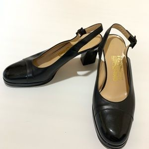 Salvatore Ferragamo Closed Toe Black Leather Heels